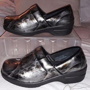 Easy Street black  silver  wide clog